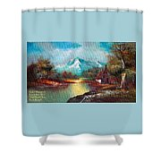 Old Shed Close To A River H A Shower Curtain