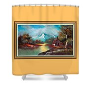 Old Shed Close To A River H B With Decorative Ornate Printed Frame. Shower Curtain