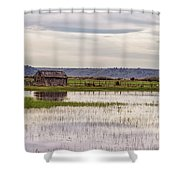 Old Shed On Marsh Shower Curtain