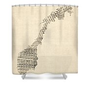 Old Sheet Music Map Of Norway Shower Curtain