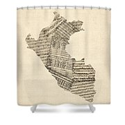 Old Sheet Music Map Of Peru Map Shower Curtain