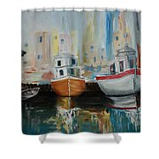 Old Ships At Dock Shower Curtain