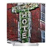 Old Simpson Hotel Sign Shower Curtain