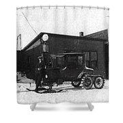 Old Ski Truck Shower Curtain