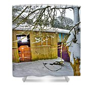 Old Stable - Silent Winter Shower Curtain