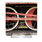 Old Steam Locomotive Iron Rusty Wheels Shower Curtain