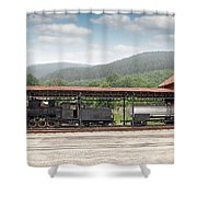 Old Steam Locomotive On Railway Station Shower Curtain