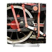 Old Steam Locomotive Wheels Shower Curtain