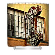Old Steel Neon Sign Shower Curtain