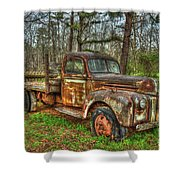 Old Still Art 1947 Ford Stakebed Pickup Truck Ar Shower Curtain