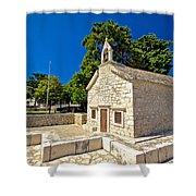 Old Stone Chapel In Primosten Shower Curtain