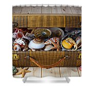Old Suitcase Full Of Sea Shells Shower Curtain by Garry Gay