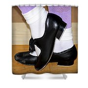 Old Tap Dance Shoes With White Socks And Wooden Floor Shower Curtain
