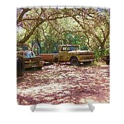 Old Time Trucks Shower Curtain
