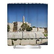 Old Town Citadel Walls Of Jerusalem Israel Shower Curtain