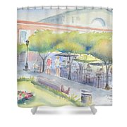 Old Town Mazatlan Square Where The Musicians Play, People Eat And Play. Shower Curtain