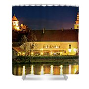 Old Town Of Ptuj Evening Riverfront View Shower Curtain