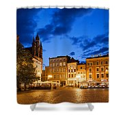 Old Town Square By Night In Torun Shower Curtain