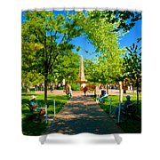 Old Town Square Santa Fe Shower Curtain