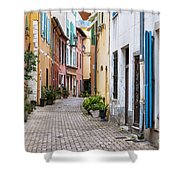 Old Town Street In Villefranche-sur-mer Shower Curtain