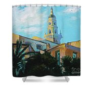 Old Town Tower In Menton Shower Curtain