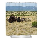Old Tractor And Rake In New Mexico Shower Curtain