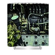 Old Tractor Weed Engine In Blue Shower Curtain
