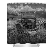 Old Truck Abandoned In The Grass In Black And White At The Ghost Town By Okaton South Dakota Shower Curtain