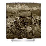 Old Truck Abandoned In The Grass In Sepia Tone Shower Curtain