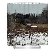 Old Truck And A Moose Shower Curtain
