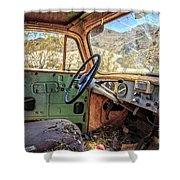 Old Truck Interior Nevada Desert Shower Curtain by Edward Fielding