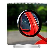 Old Truck Mirror Reflection Shower Curtain