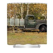 Old Truck With Potato Barrels Shower Curtain