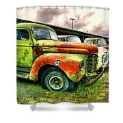 Old Trucks In A Row Shower Curtain
