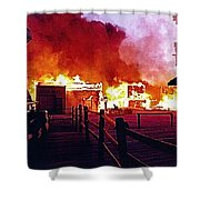 Old Tucson Arizona In Flames 1995  Shower Curtain