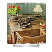 Old Underwood Typewriter Shower Curtain