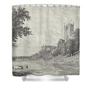 Old View Of Durham Cathedral Shower Curtain