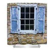 Old Village Window With Blue Shutters Shower Curtain