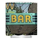 Old Vintage Bar Neon Sign Livingston Montana Shower Curtain