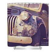 Old Vintage Pickup Truck Utah Square Shower Curtain