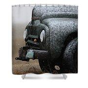 Old Vintage Truck In Winter Storm Saskatchewan Shower Curtain