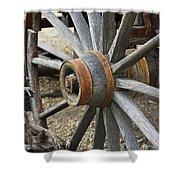 Old Waagon Wheel Shower Curtain