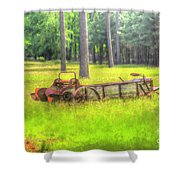Old Wagon In Field Shower Curtain