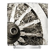 Old Wagon Wheel Shower Curtain