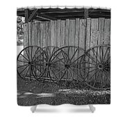 Old Wagon Wheels Black And White Shower Curtain