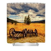 Old Wagons In Meadow Shower Curtain