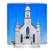 Old Weathered Church On Hill Top Shower Curtain