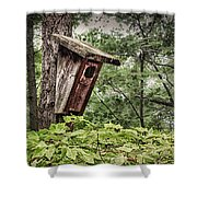 Old Weathered Worn Bird House In Summer Shower Curtain