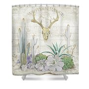 Old West Cactus Garden W Deer Skull N Succulents Over Wood Shower Curtain