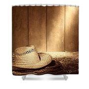 Old West Farmer Hat Shower Curtain